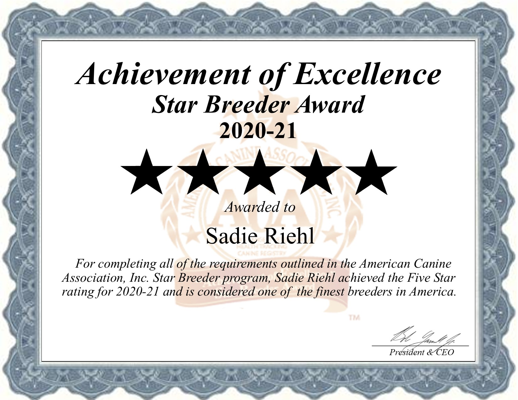 Sadie, Riehl, dog, breeder, star, certificate, Sadie-Riehl, Gap, PA, Pennsylvania, puppy, dog, kennels, mill, puppymill, usda, 5-star, aca, ica, registered, golden, doodles